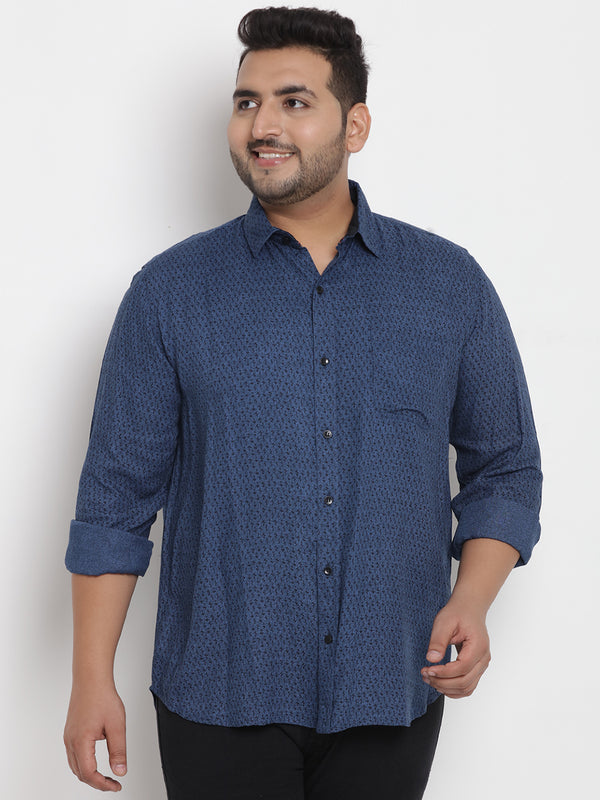 Blue Cotton Printed Shirt - 4199A