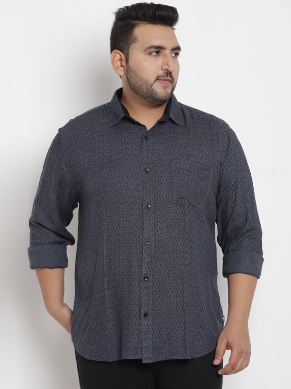 Grey Cotton Printed Shirt - 4199B