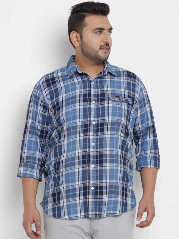 Blue Checked Cotton Shirt - 4200