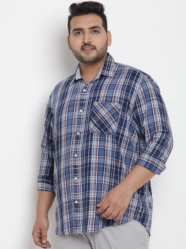 Blue Checked Cotton Shirt - 4201