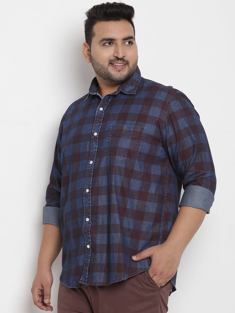 Blue Checked Cotton Shirt - 4202