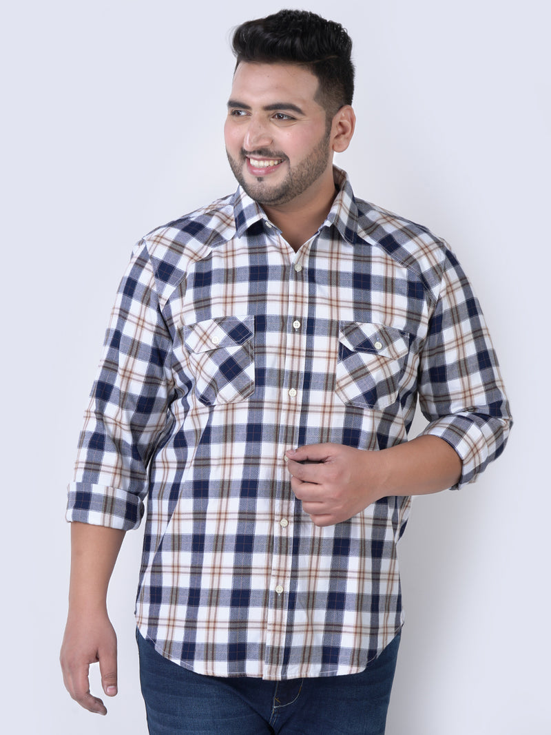 White & Mustered Check Shirt- 4205A