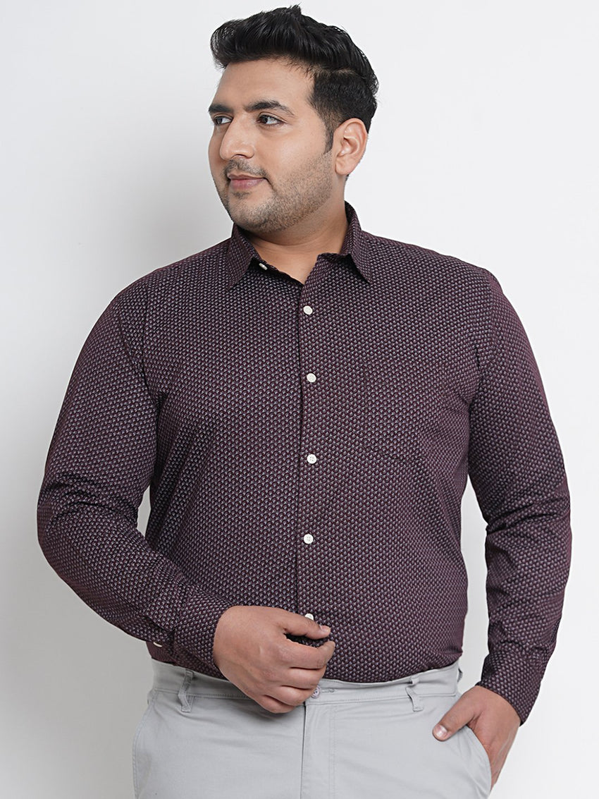Hickory Brown Printed Formal Shirt- 4227A
