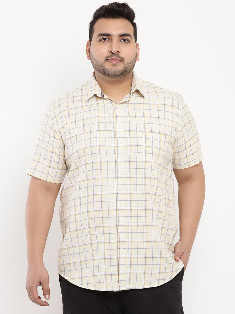 Light Yellow Checked Half Sleeve Shirt-5101A