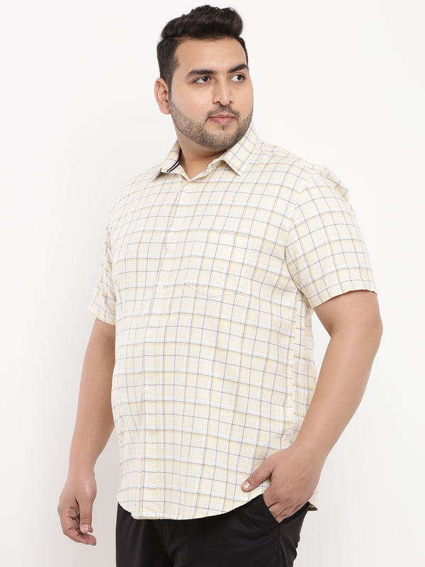 Light Yellow Check Shirt-5101A