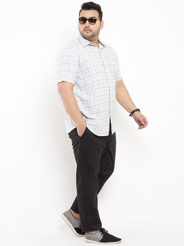 White Checked Linen Half Sleeve Shirt-5101B