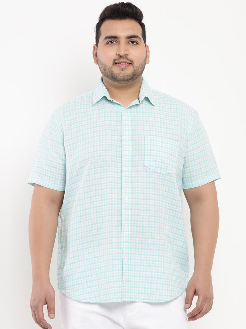 Turquoise Check Linen Shirt-5102A
