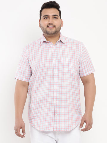 Small Pink Check Linen Shirt-5102B
