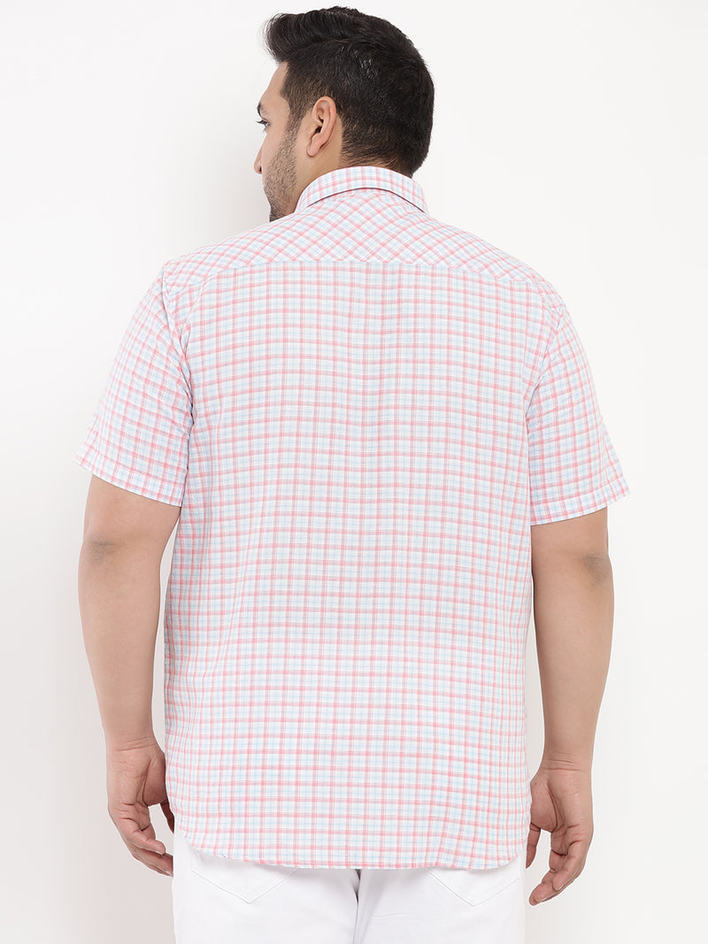 Pink Checked Linen Half Sleeve Shirt-5102B