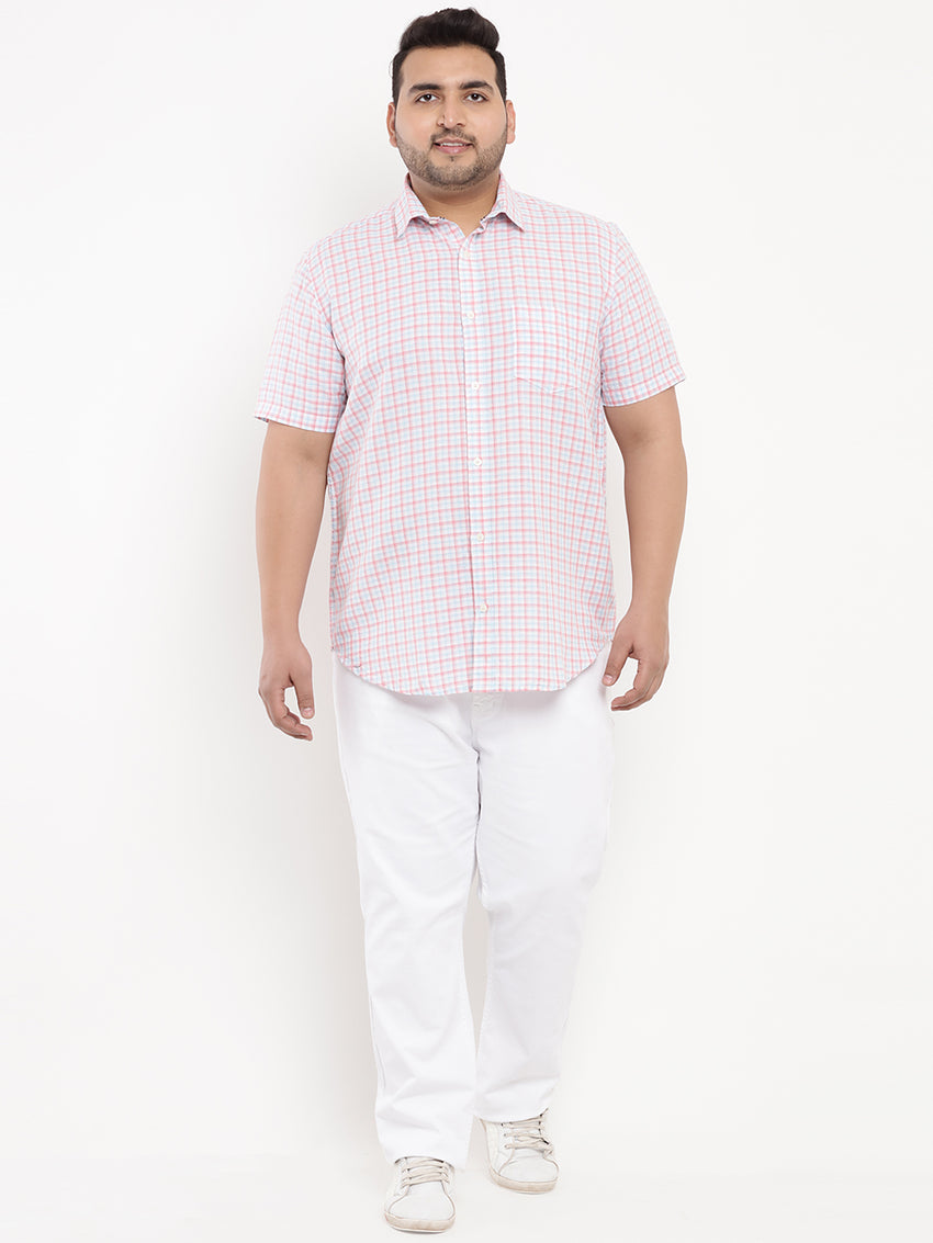 Small Pink Checked Linen Shirt-5102B