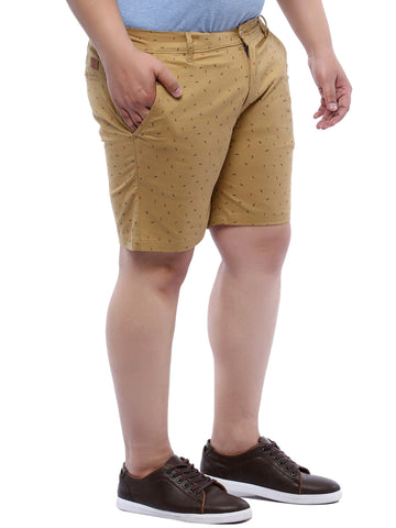 Brown Printed Cotton Shorts- 6613A
