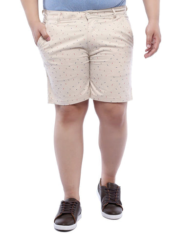 Beige Printed Cotton Shorts- 6613B