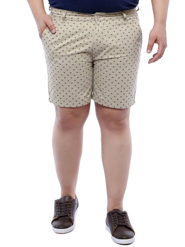 Beige Printed Cotton Shorts- 6614B