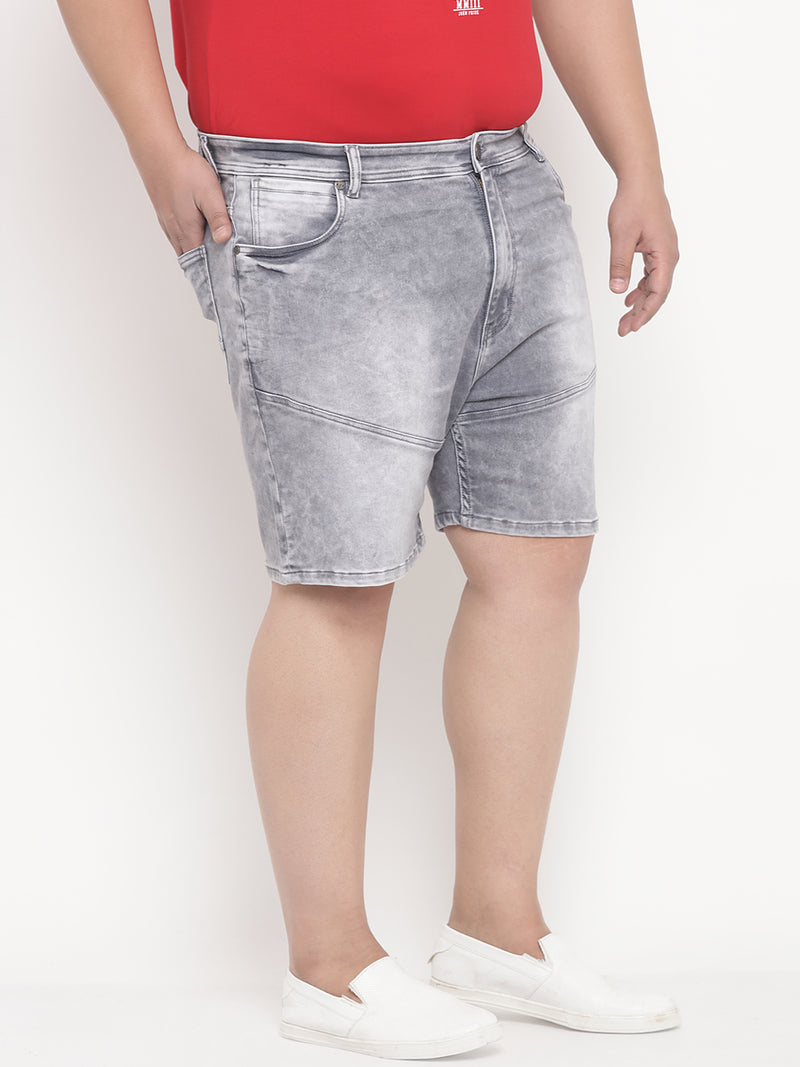 Grey Denim Shorts-6621