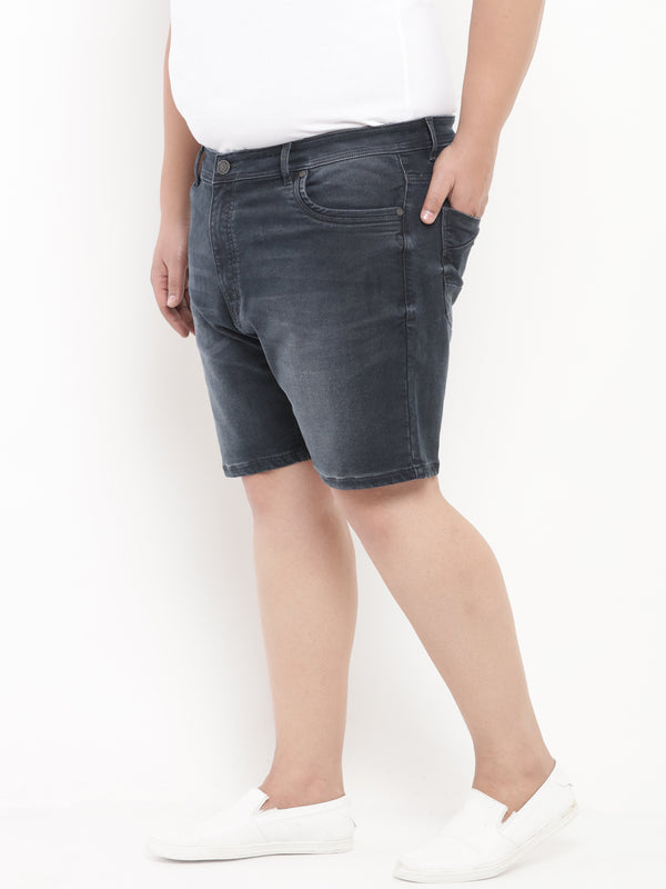 Blue Denim Stretchable Shorts-6622