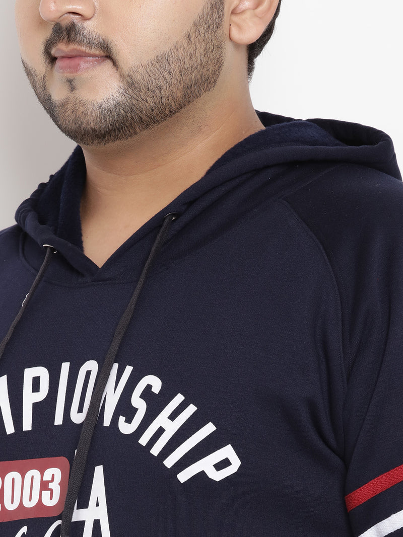 Navy Blue Full Sleeve Hooded Sweatshirt- 7532