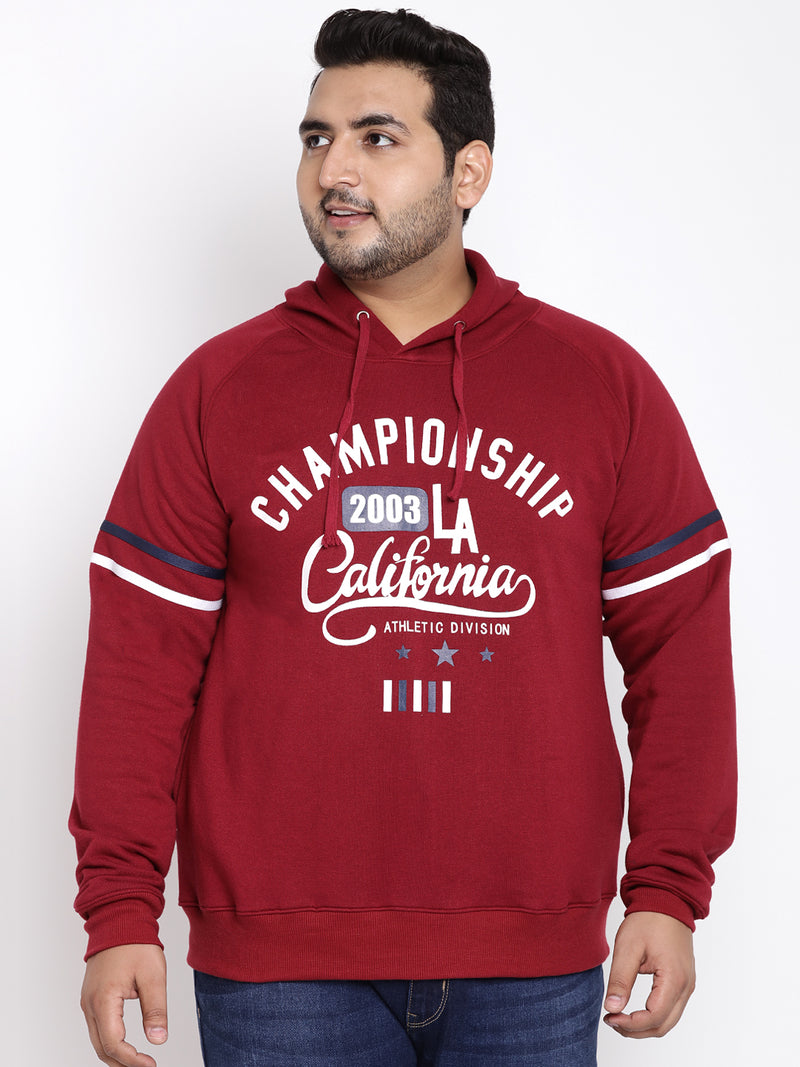 Maroon Full Sleeve Hooded Sweatshirt- 7539