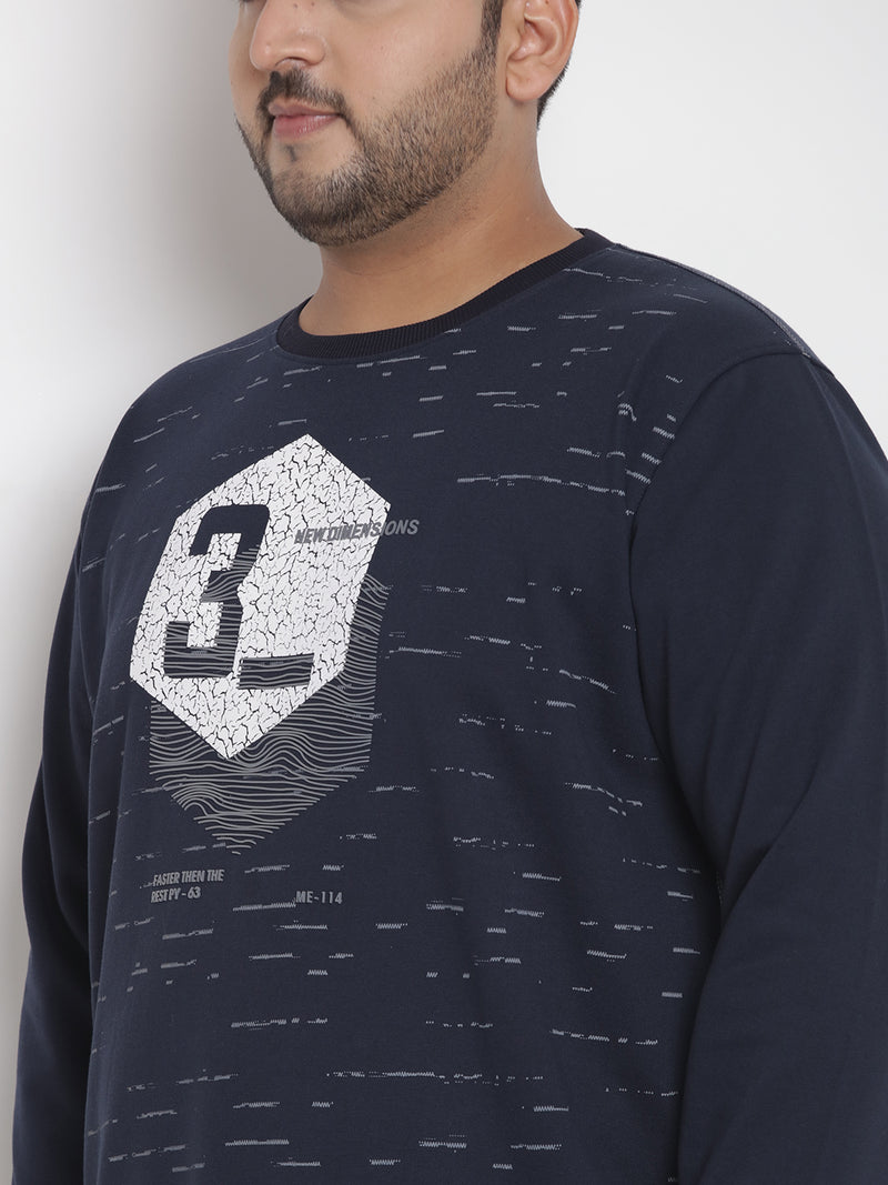Navy Blue Printed Sweatshirt - 7556