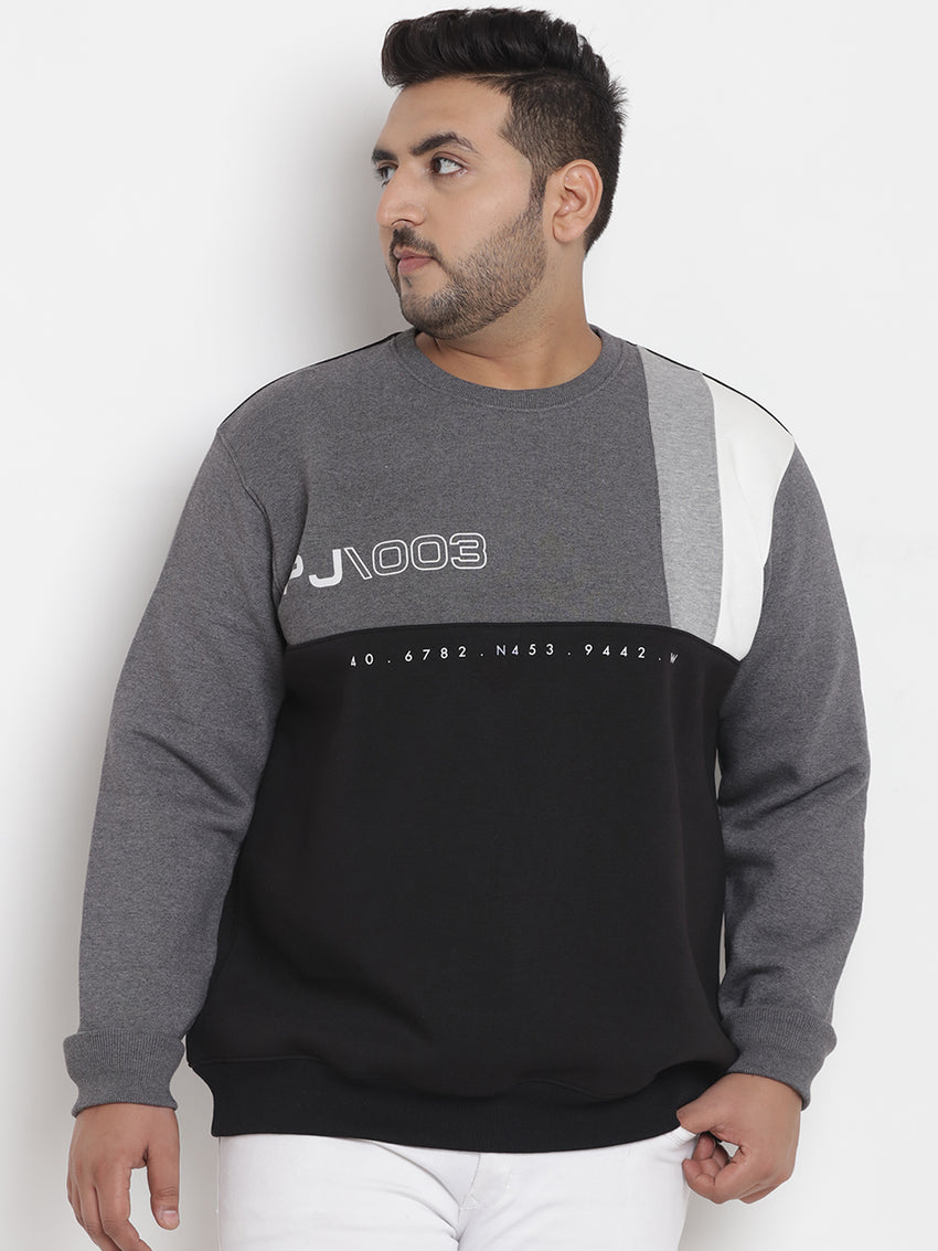 Grey Color  Blocked  Sweatshirt - 7557