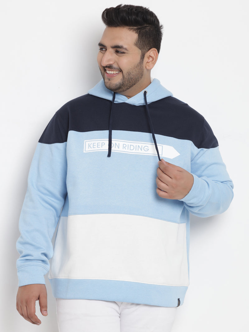 Turquoise Blue Color Blocked Hooded Sweatshirt - 7558