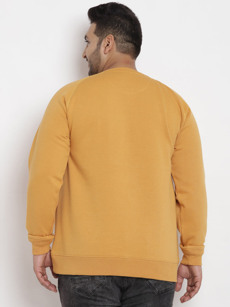 Mustered Fleece Round Neck Sweatshirt-7564B