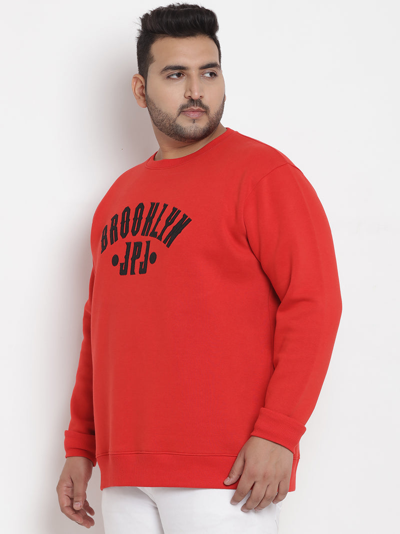 Red  Fleece Round Neck Sweatshirt - 7565A