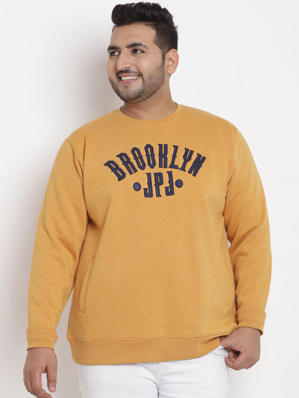 Mustard Fleece Round Neck Sweatshirt -7565B