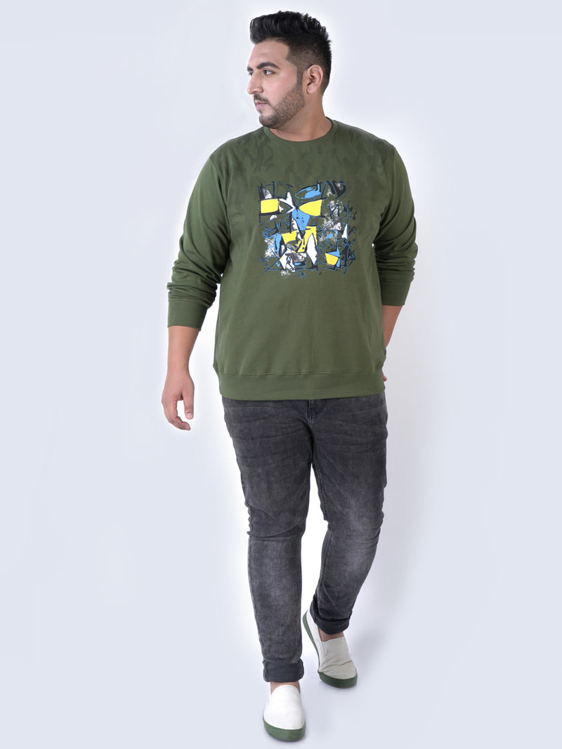 Olive ABSTRACT PRINT Sweatshirt - 7572