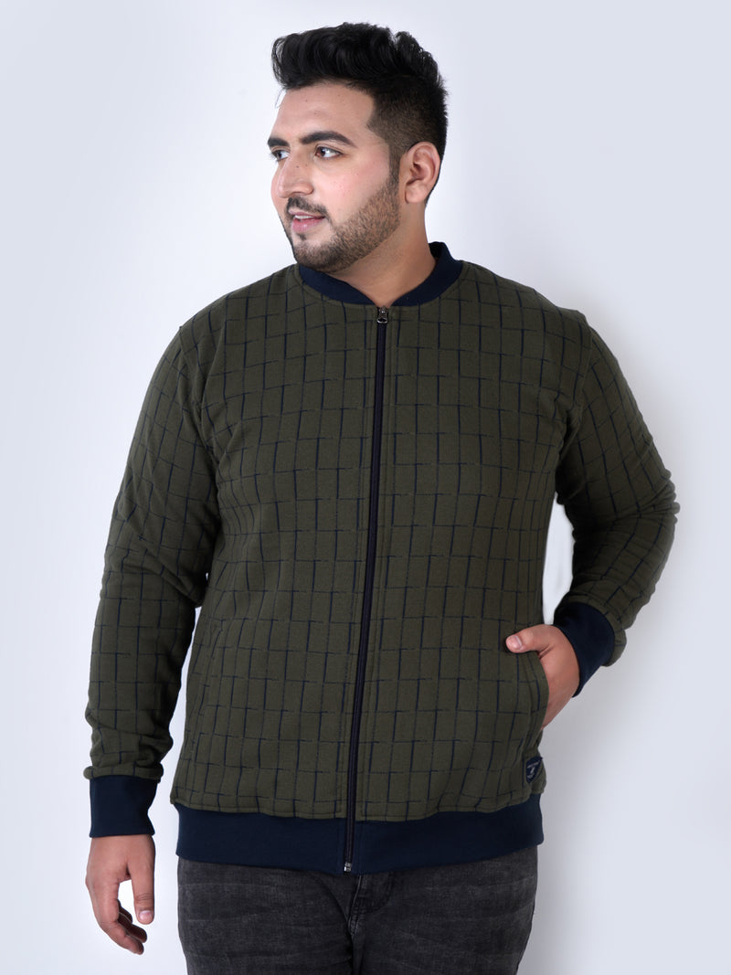 Check Olive Cotton Sweatshirt - 7576B