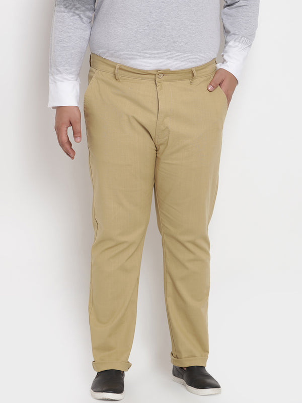 Beige Stretchable Casual Trouser-2141B