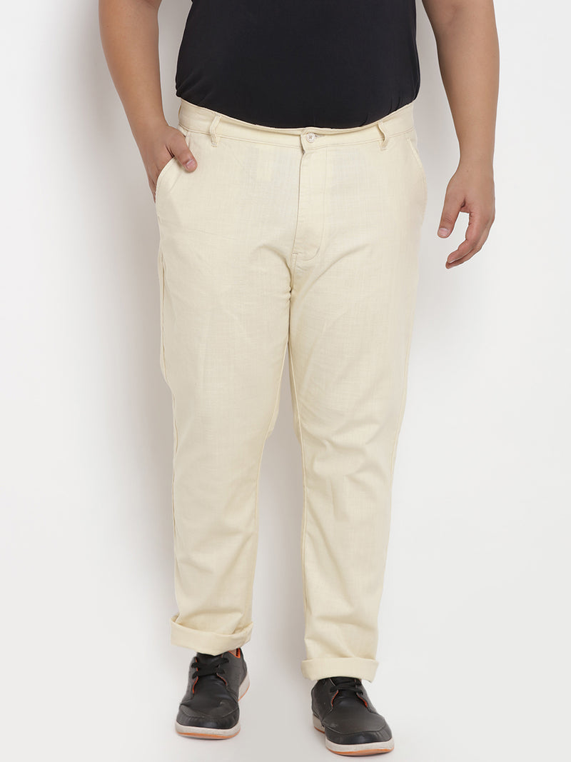 Cream Stretchable Casual Trouser - 2141C