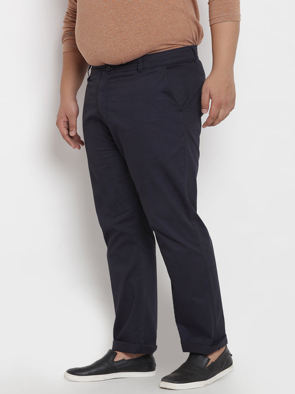 Navy Stretchable Casual Trouser- 2142A