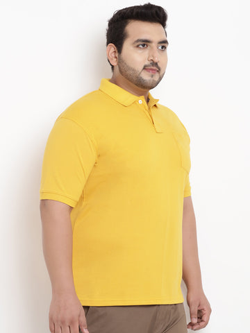 Mustard Half Sleeve Polo Neck T-Shirt-  3105I