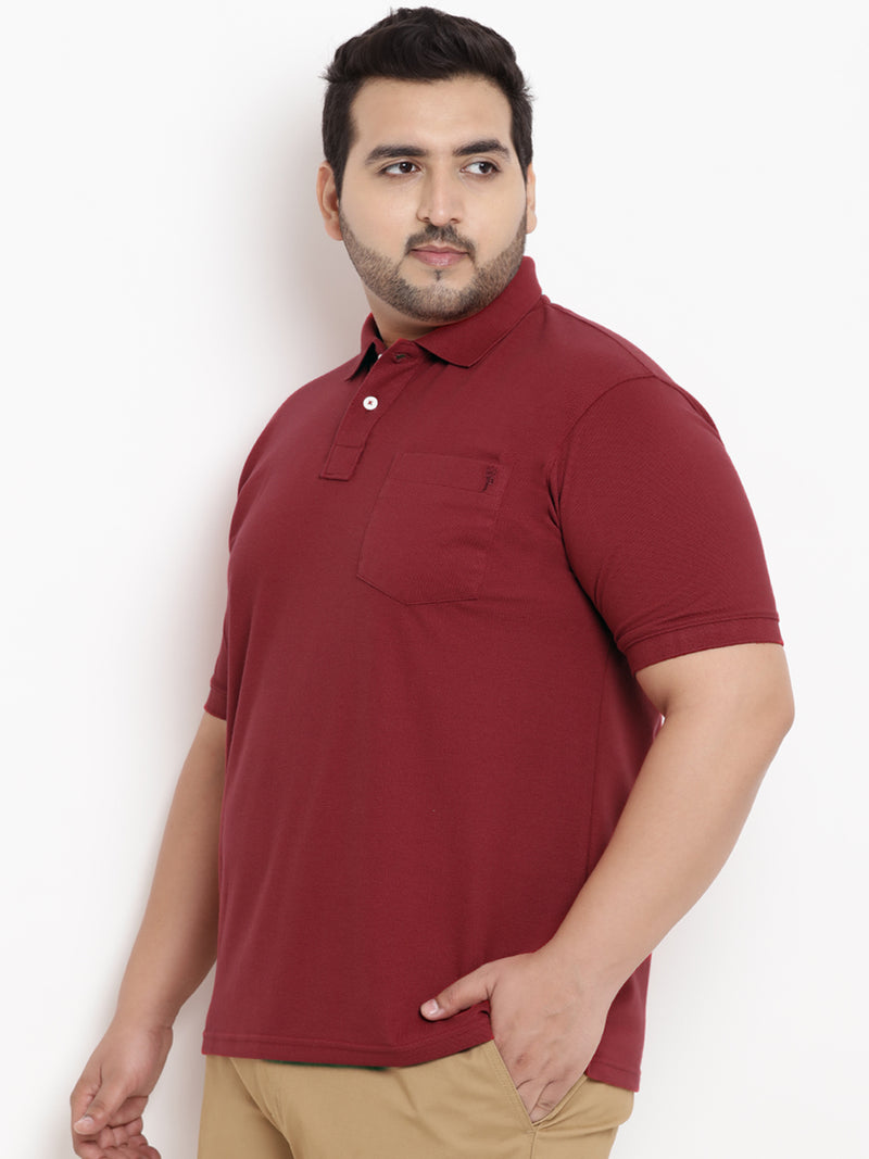 Unassuming Maroon Polo Neck T-Shirt- 3105J