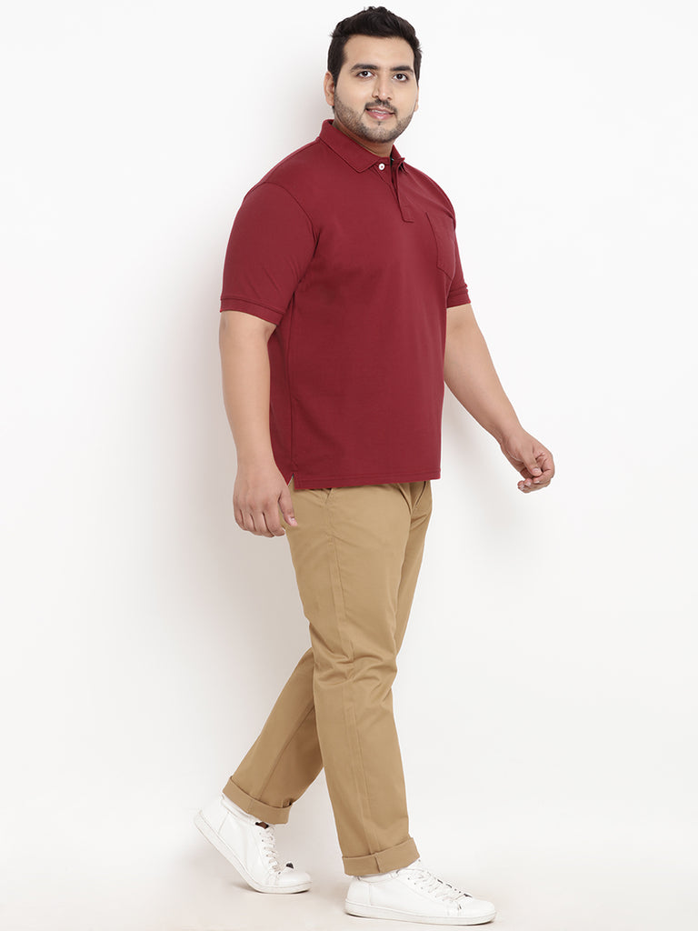 Maroon Half Sleeve Polo Neck T-Shirt- 3105J