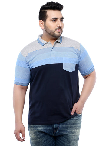 Navy Blue Half Sleeve Polo Striped T-Shirt- 3159B