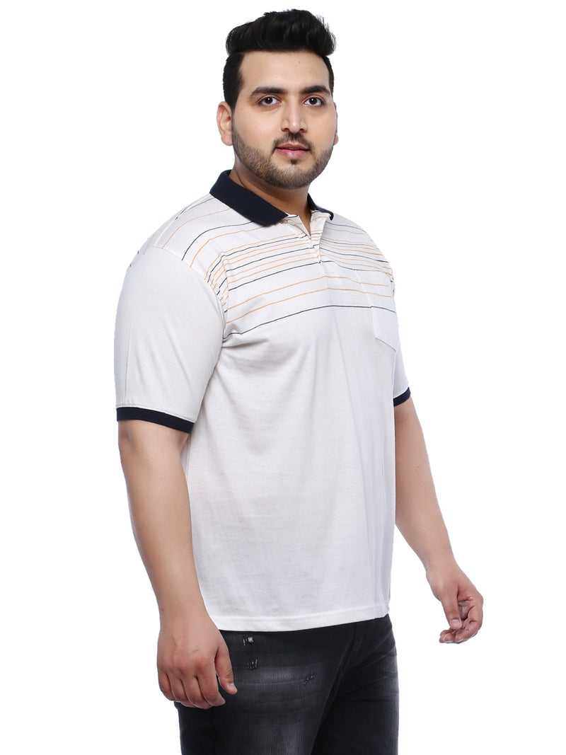 Cream Half Sleeve Polo Striped T-Shirt- 3163A