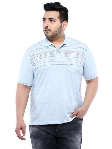 Turquoise Half Sleeve Polo Striped T-Shirt- 3163C