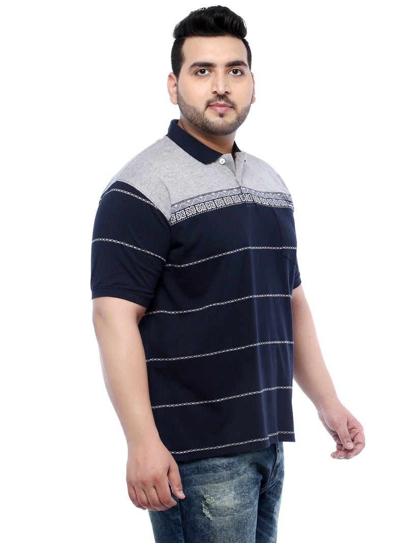 Navy Blue Half Sleeve Polo Striped T-Shirt- 3253