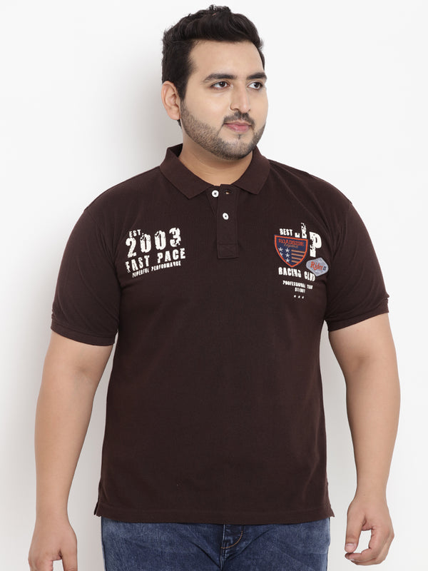 Brown Half Sleeve Polo Neck T-Shirt- 3170A