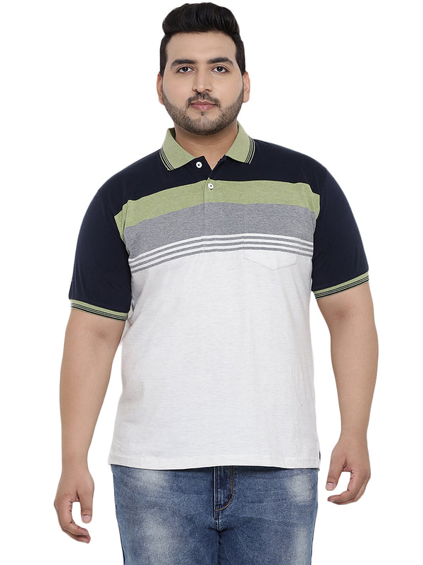 Cream Half Sleeve Polo Striped T-Shirt- 3172