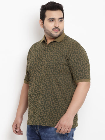 Olive Half Sleeve Polo Neck T-Shirt-3180A