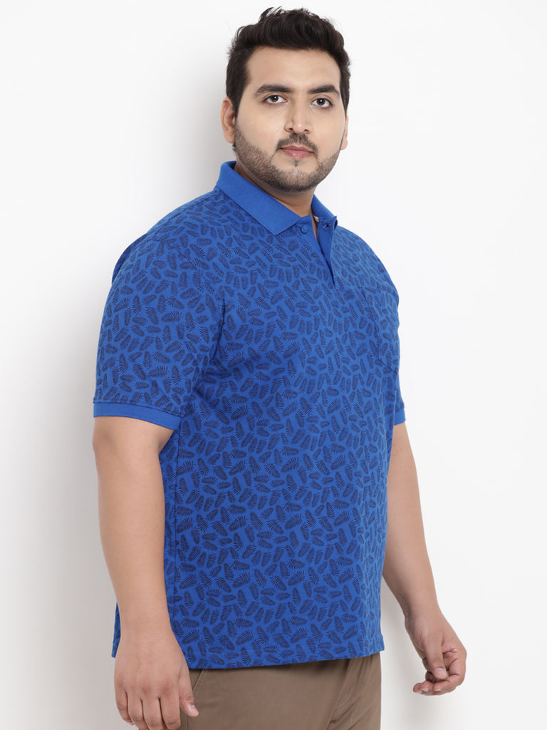 Blue Half Sleeve Polo Neck T-Shirt- 3180B