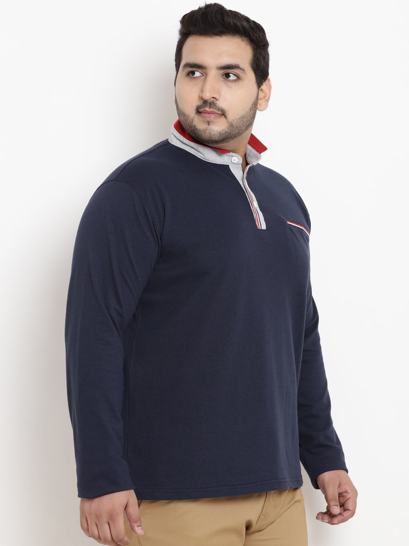 Navy Blue Full Sleeve Henley Neck T-Shirt-3182A
