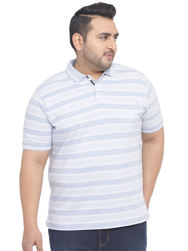 Sky Stripes Polo T-Shirt-3191