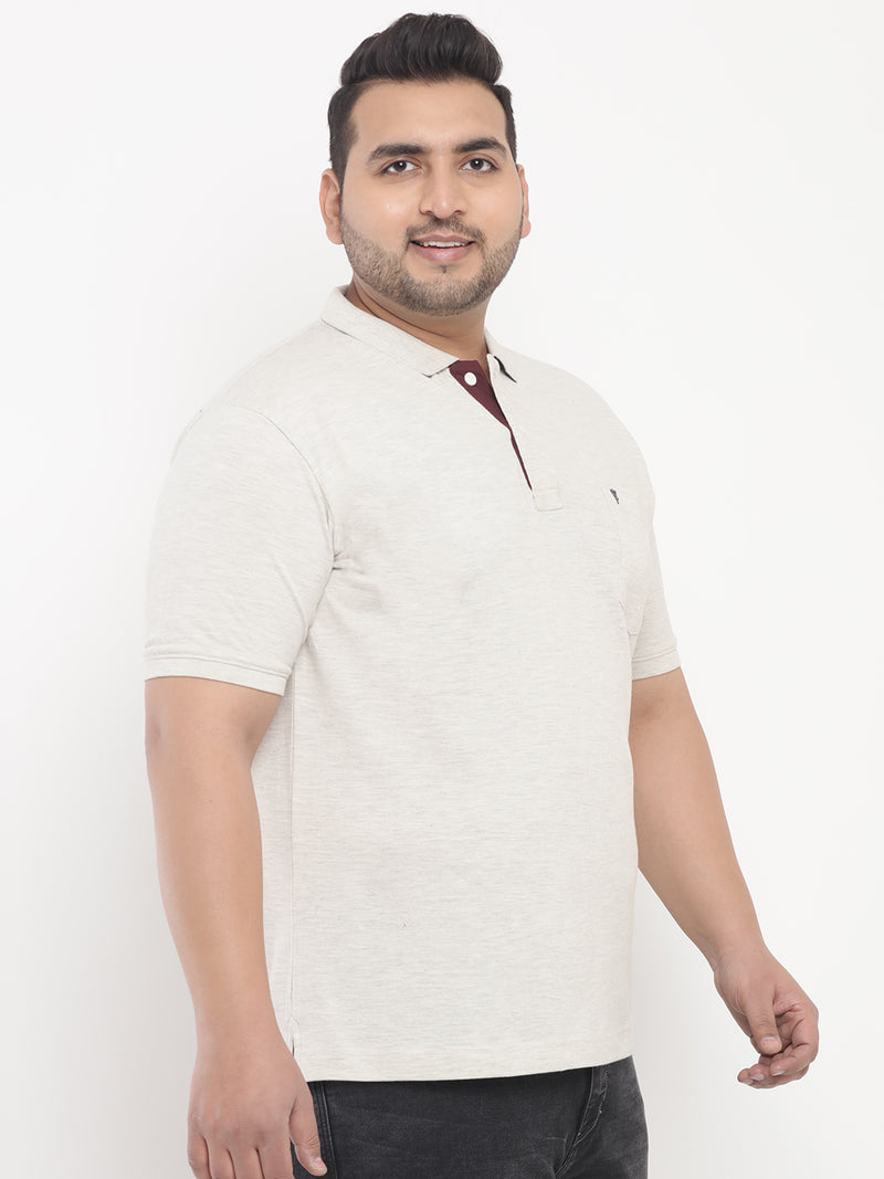 Unassuming Cream Polo T-Shirt-3202A
