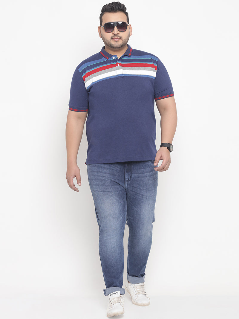 Royal Blue Stripes Stretchable Polo T-Shirt-3203A