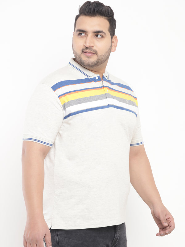 Ecru Stripes Stretchable Polo T-Shirt-3203B
