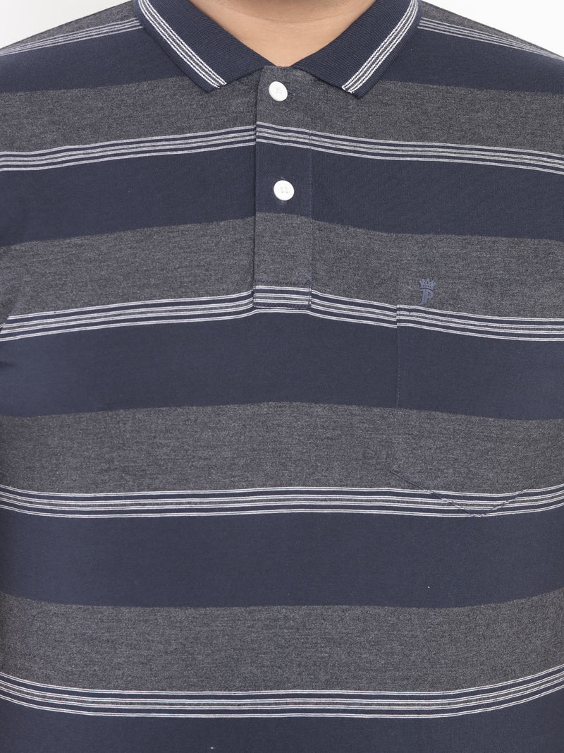 Striped Grey Stretchable Polo T-Shirt -3204A