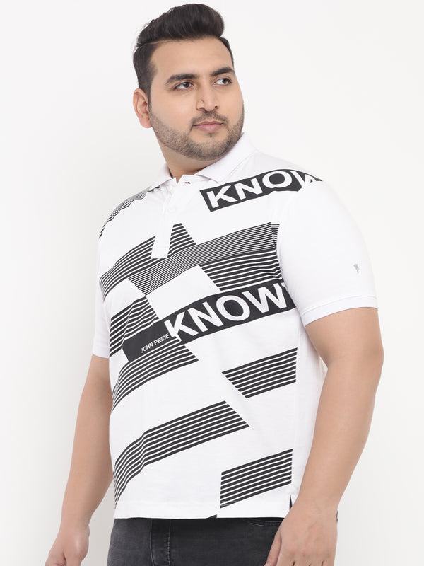 White Graphic Print Polo T-Shirt-3208